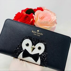 Kate spade NY Clifton lane penguin black wallet